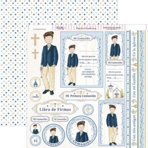 Papel 30×30 «Comunión Niño 2018» Niño Traje Azul-Beige SCP-243