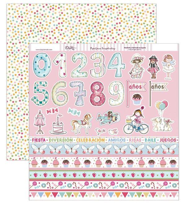 """Papel 30×30 """"Tiras números y niñas"""" SCP-205"""