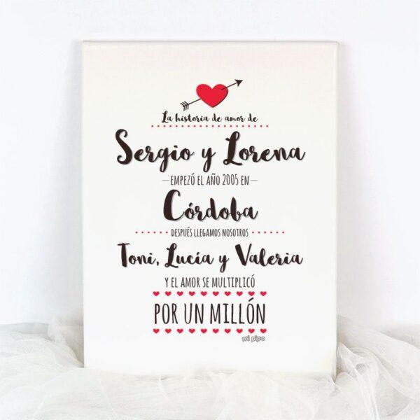 Lienzo La historia de Amor Corazón Flecha